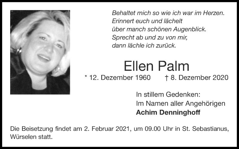 Traueranzeige für Ellen Palm vom 31.01.2021 aus Zeitung am Sonntag