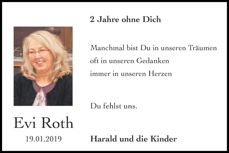 Traueranzeige für Evi Roth vom 24.01.2021 aus Zeitung am Sonntag