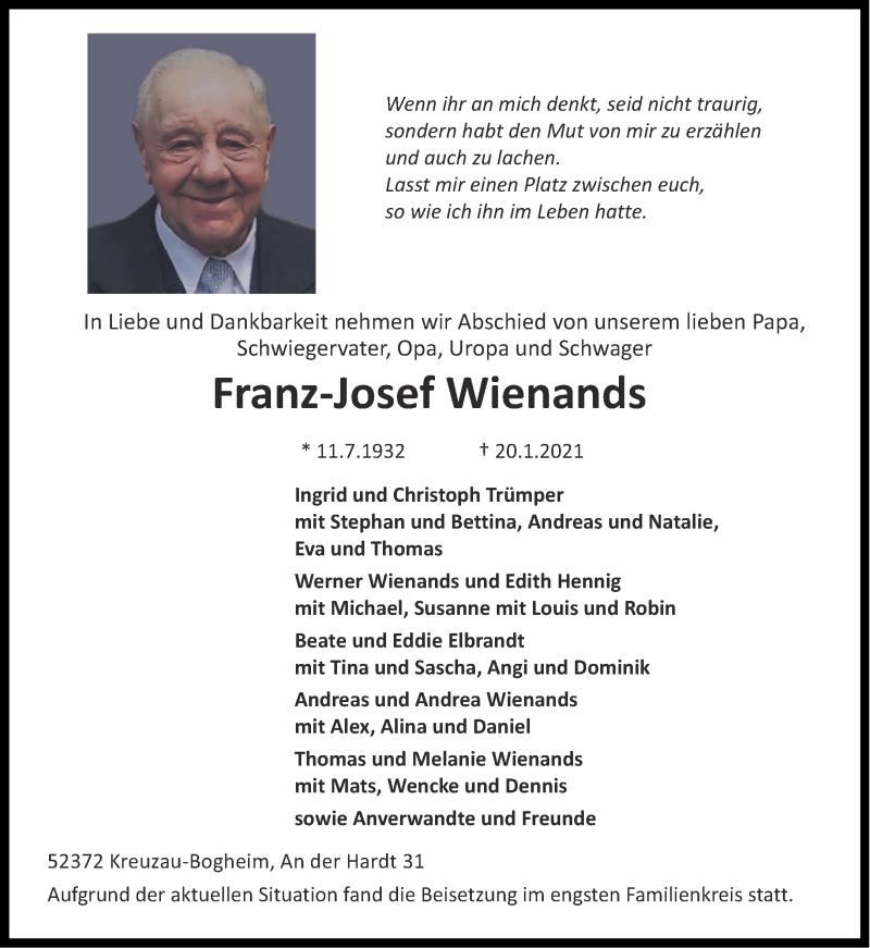 Traueranzeige für Franz-Josef Wienands vom 23.01.2021 aus Aachener Zeitung / Aachener Nachrichten