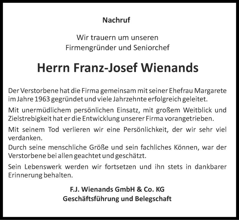 Traueranzeige für Franz-Josef Wienands vom 24.01.2021 aus Zeitung am Sonntag