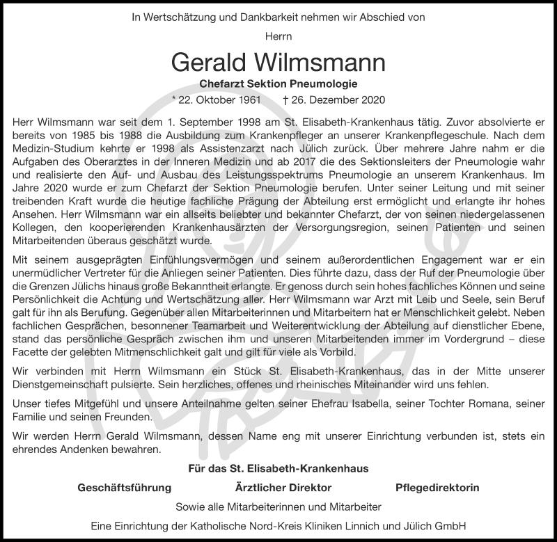 Traueranzeige für Gerald Wilmsmann vom 10.01.2021 aus Zeitung am Sonntag