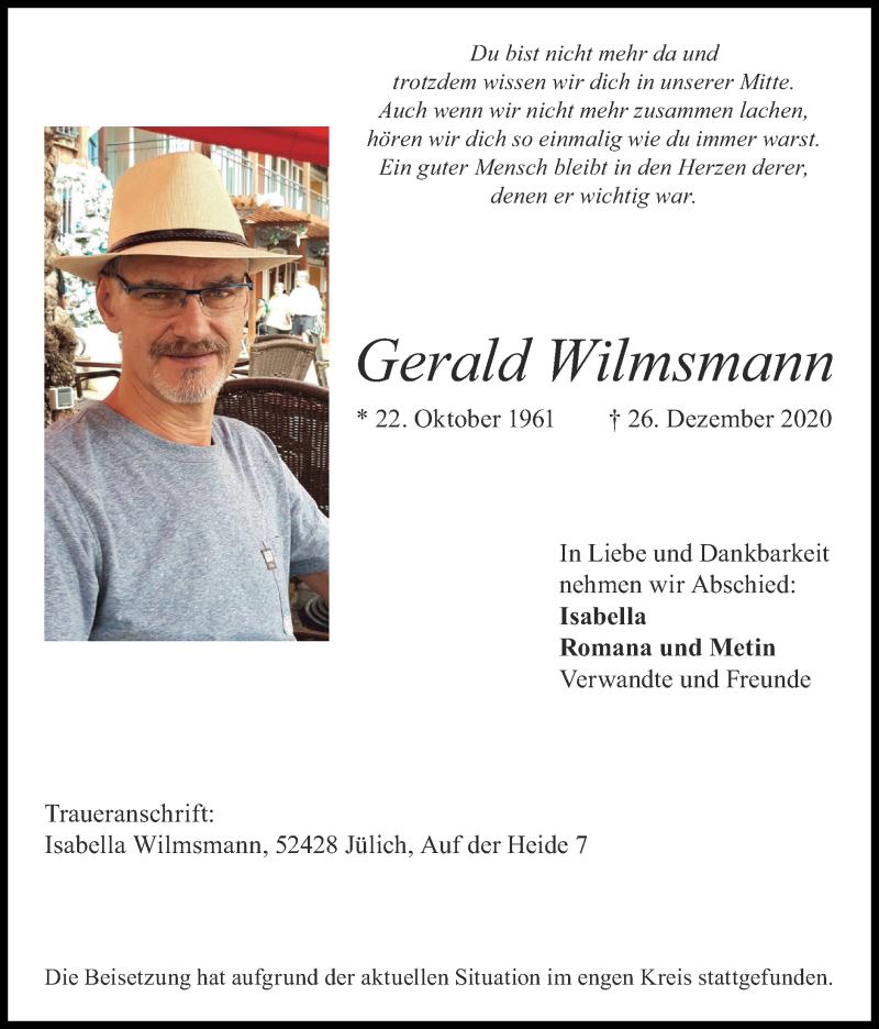 Traueranzeige für Gerald Wilmsmann vom 03.01.2021 aus Zeitung am Sonntag