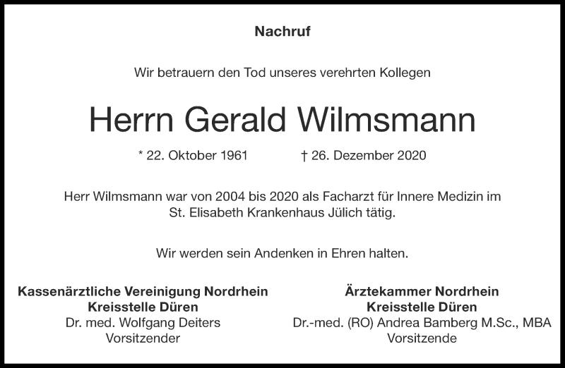 Traueranzeige für Gerald Wilmsmann vom 07.01.2021 aus Aachener Zeitung / Aachener Nachrichten
