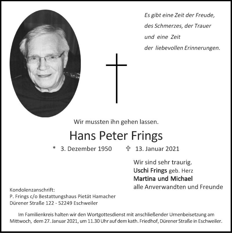 Traueranzeige für Hans Peter Frings vom 24.01.2021 aus Zeitung am Sonntag