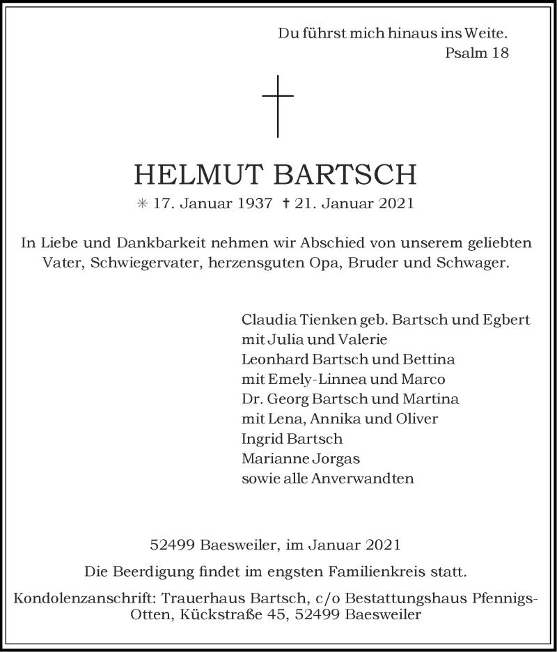 Traueranzeige für Helmut Bartsch vom 24.01.2021 aus Zeitung am Sonntag