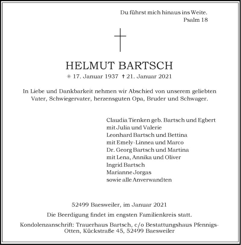 Traueranzeige für Helmut Bartsch vom 23.01.2021 aus Aachener Zeitung / Aachener Nachrichten