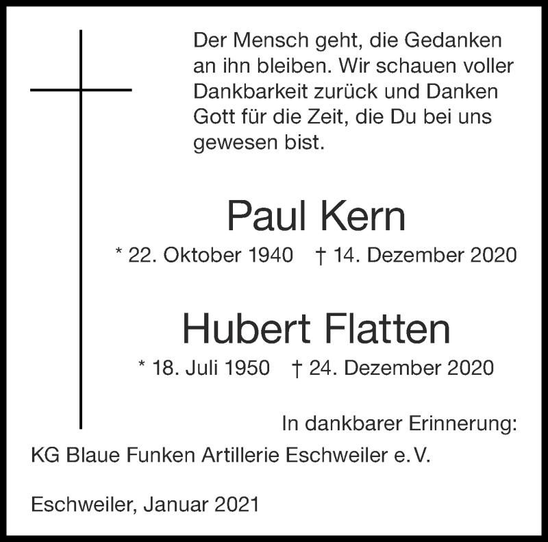 Traueranzeige für Hubert Flatten vom 09.01.2021 aus Aachener Zeitung / Aachener Nachrichten