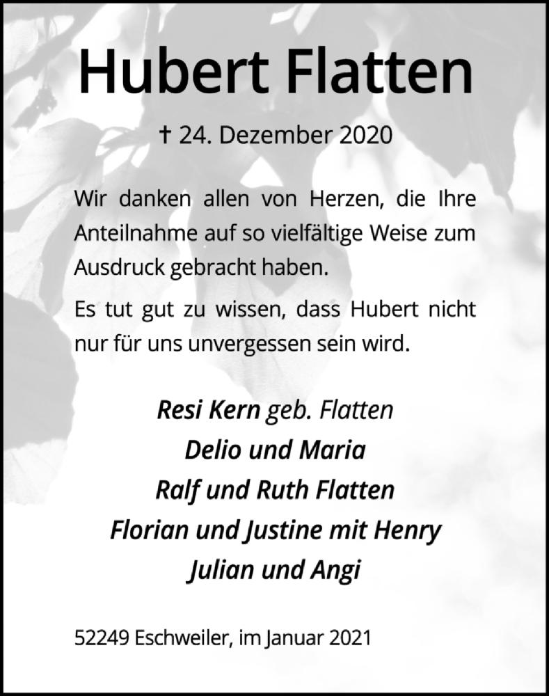 Traueranzeige für Hubert Flatten vom 24.01.2021 aus Zeitung am Sonntag