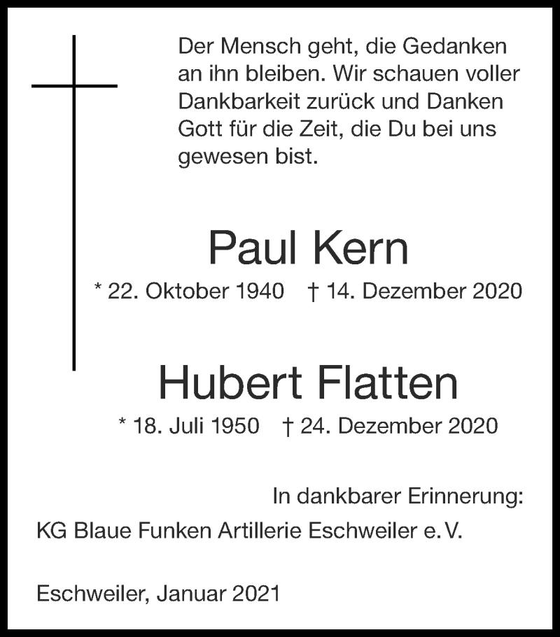 Traueranzeige für Hubert Flatten vom 10.01.2021 aus Zeitung am Sonntag