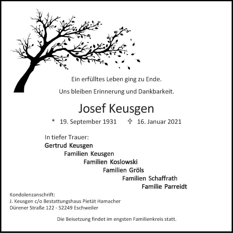 Traueranzeige für Josef Keusgen vom 31.01.2021 aus Zeitung am Sonntag