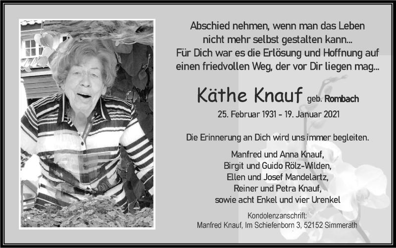 Traueranzeige für Käthe Knauf vom 24.01.2021 aus Zeitung am Sonntag