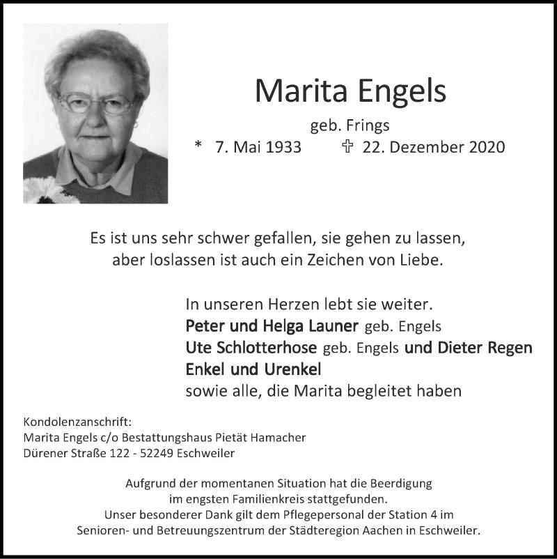 Traueranzeige für Marita Engels vom 03.01.2021 aus Zeitung am Sonntag