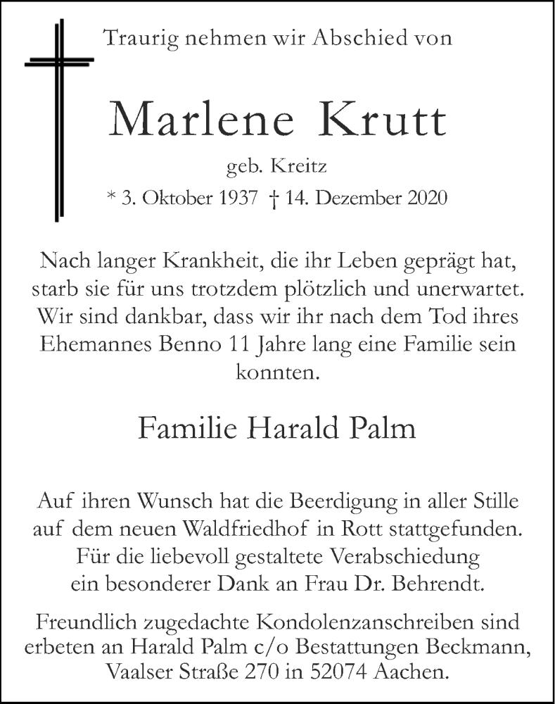 Traueranzeige für Marlene Krutt vom 24.01.2021 aus Zeitung am Sonntag