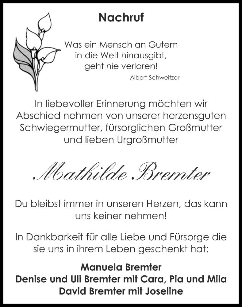 Traueranzeige für Mathilde Bremter vom 24.01.2021 aus Zeitung am Sonntag