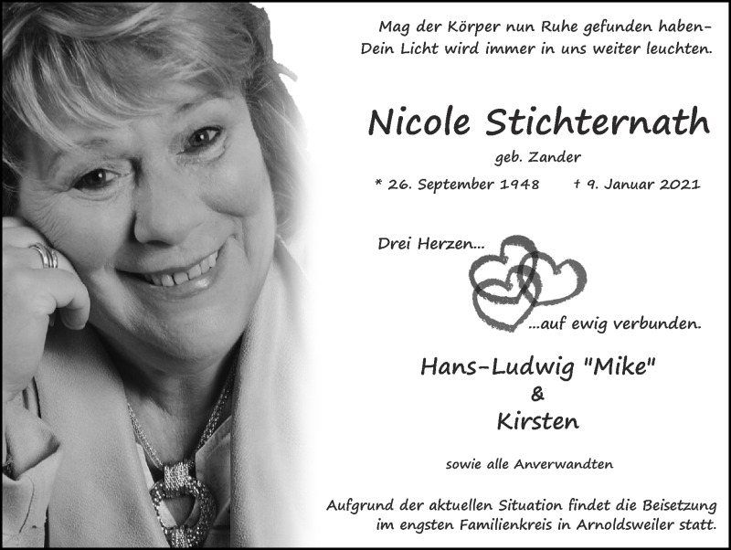 Traueranzeige für Nicole Stichternath vom 24.01.2021 aus Zeitung am Sonntag