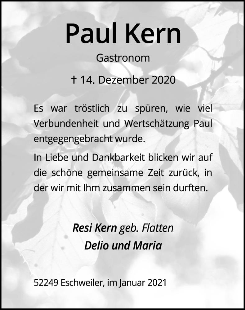 Traueranzeige für Paul Kern vom 24.01.2021 aus Zeitung am Sonntag