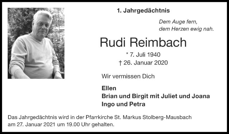 Traueranzeige für Rudi Reimbach vom 24.01.2021 aus Zeitung am Sonntag