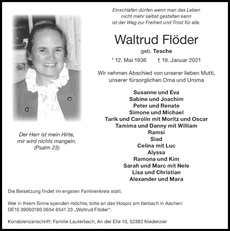 Traueranzeige für Waltrud Flöder vom 24.01.2021 aus Zeitung am Sonntag