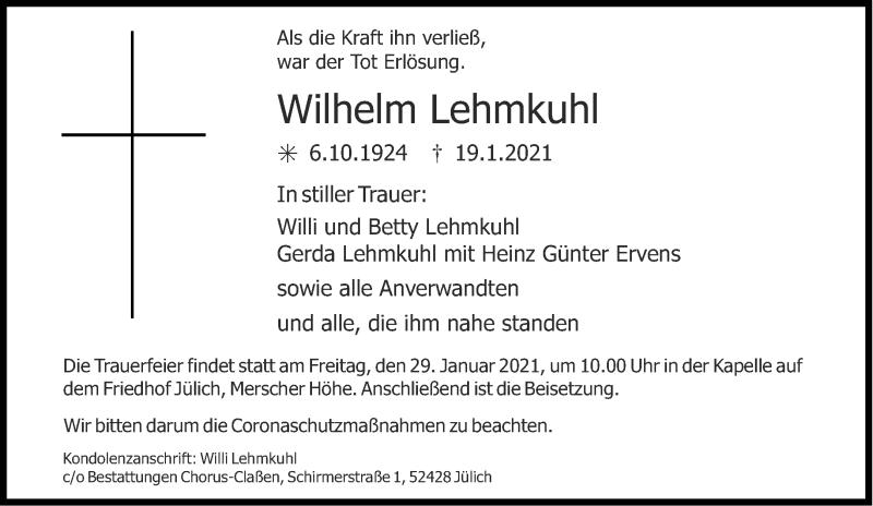 Traueranzeige für Wilhelm Lehmkuhl vom 23.01.2021 aus Aachener Zeitung / Aachener Nachrichten