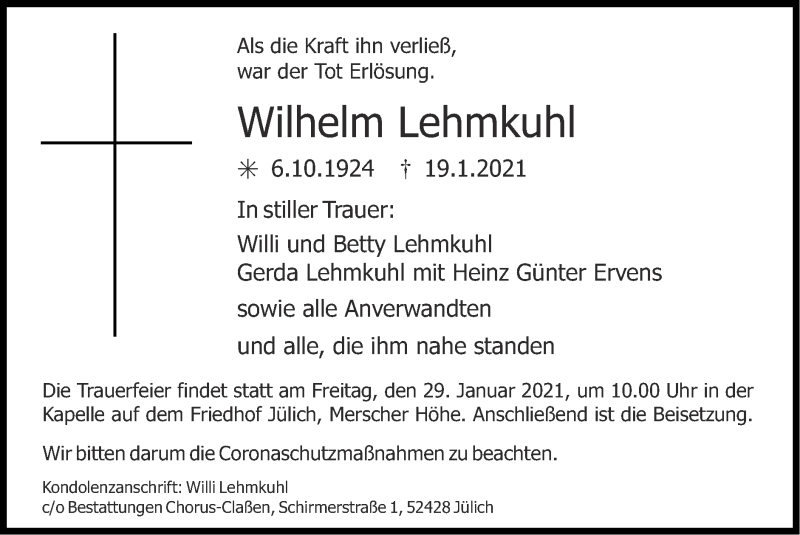 Traueranzeige für Wilhelm Lehmkuhl vom 24.01.2021 aus Zeitung am Sonntag