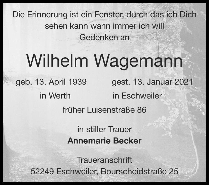 Traueranzeige für Wilhelm Wagemann vom 24.01.2021 aus Zeitung am Sonntag