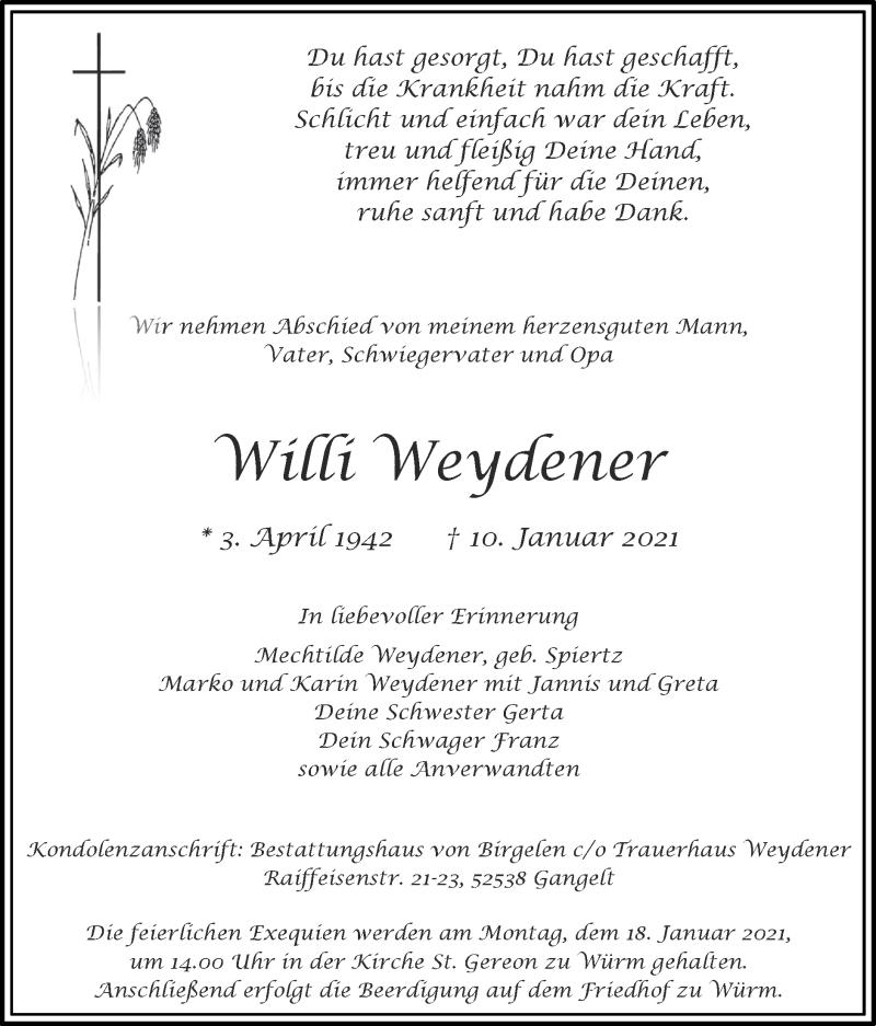 Traueranzeige für Willi Weydener vom 17.01.2021 aus Zeitung am Sonntag