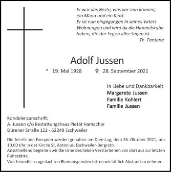 Traueranzeige von Adolf Jussen von Zeitung am Sonntag
