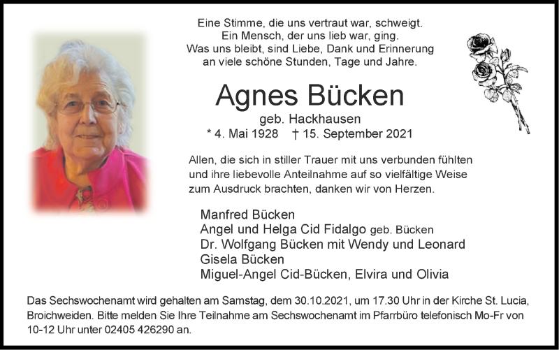 Traueranzeige für Agnes Bücken vom 24.10.2021 aus Zeitung am Sonntag