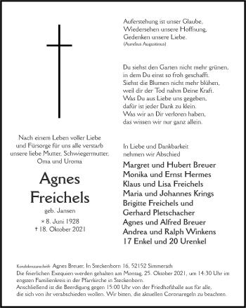 Traueranzeige von Agnes Freichels von Zeitung am Sonntag