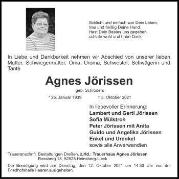 Traueranzeige von Agnes Jörissen von Zeitung am Sonntag
