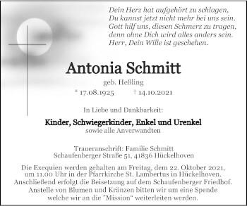 Traueranzeige von Antonia Schmitt von Zeitung am Sonntag