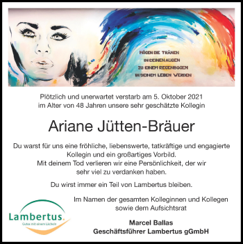 Traueranzeige von Ariane Jütten-Bräuer von Zeitung am Sonntag