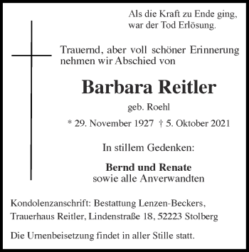 Traueranzeige von Barbara Reitler von Zeitung am Sonntag