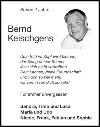 Traueranzeige von Bernd Keischgens von Zeitung am Sonntag