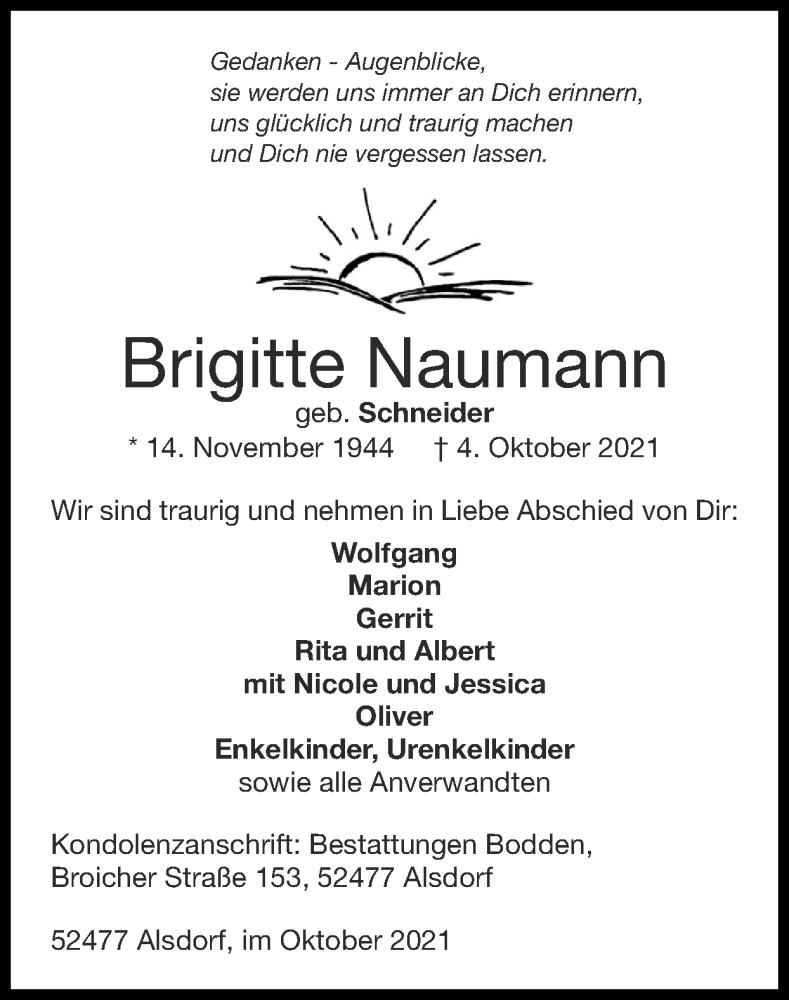 Traueranzeige für Brigitte Naumann vom 10.10.2021 aus Zeitung am Sonntag