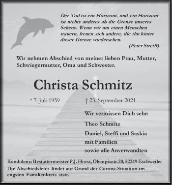 Traueranzeige von Christa Schmitz von Zeitung am Sonntag