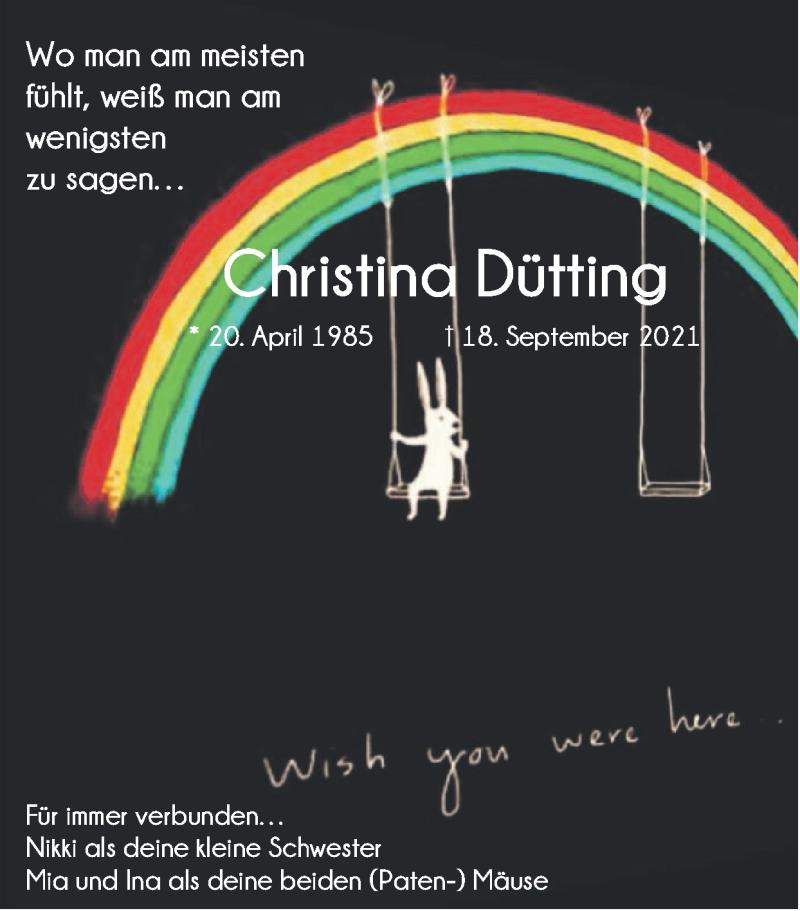 Traueranzeige für Christina Dütting vom 10.10.2021 aus Zeitung am Sonntag