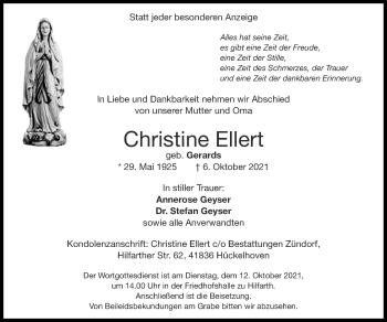 Traueranzeige von Christine Ellert von Zeitung am Sonntag