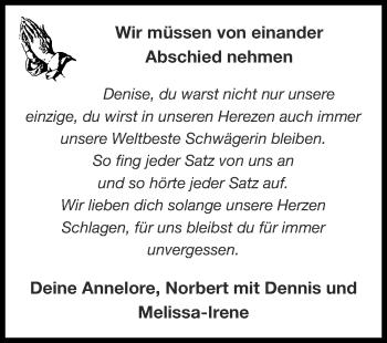 Traueranzeige von Denise  von Zeitung am Sonntag