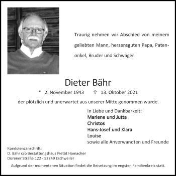 Traueranzeige von Dieter Bähr von Zeitung am Sonntag