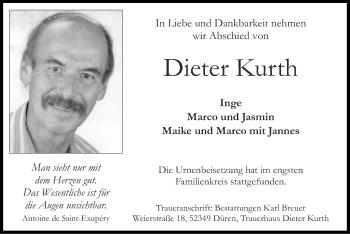 Traueranzeige von Dieter Kurth von Zeitung am Sonntag