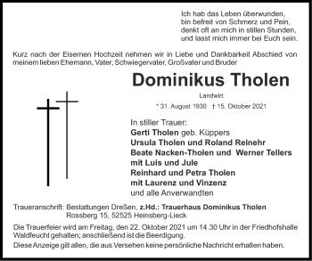 Traueranzeige von Dominikus Tholen von Aachener Zeitung / Aachener Nachrichten
