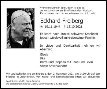 Traueranzeige von Eckhard Freiberg von Zeitung am Sonntag