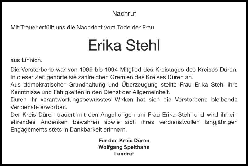 Traueranzeige für Erika Stehl vom 10.10.2021 aus Zeitung am Sonntag