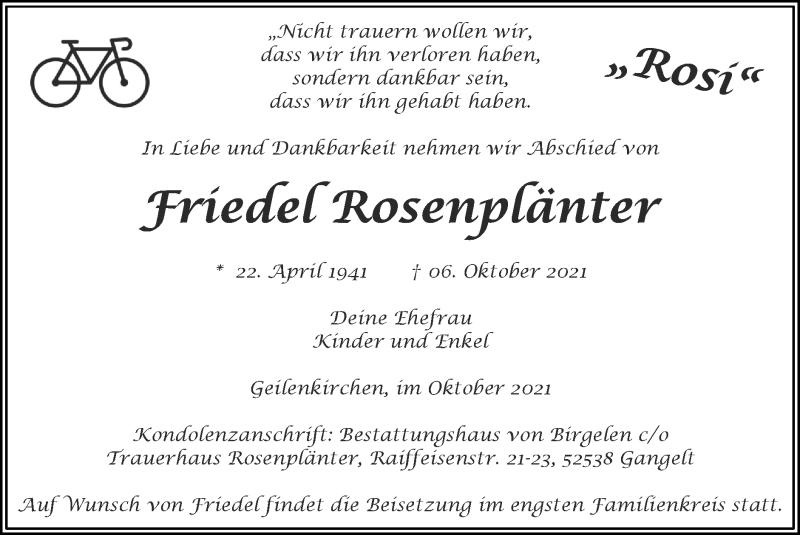 Traueranzeige für Friedel Rosenplänter vom 10.10.2021 aus Zeitung am Sonntag
