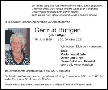 Traueranzeige von Gertrud Büttgen von Zeitung am Sonntag