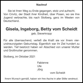 Traueranzeige von Gisela, lngeborg, Betty vom Scheidt von Zeitung am Sonntag