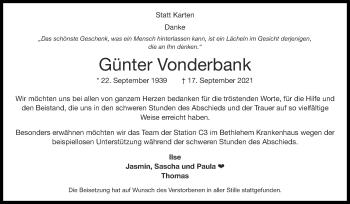 Traueranzeige von Günter Vonderbank von Zeitung am Sonntag