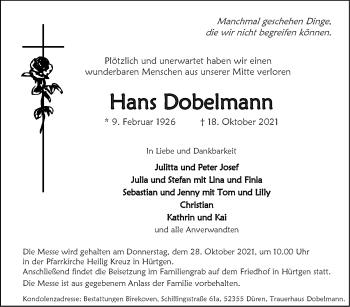 Traueranzeige von Hans Dobelmann von Zeitung am Sonntag