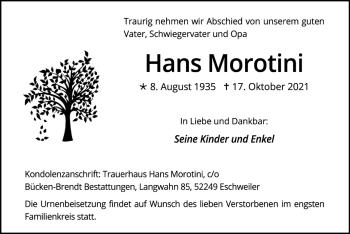 Traueranzeige von Hans Morotini von Zeitung am Sonntag